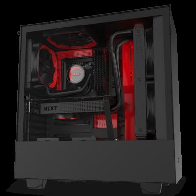 NZXT H510i Matte Black Red. Kính cường lực.